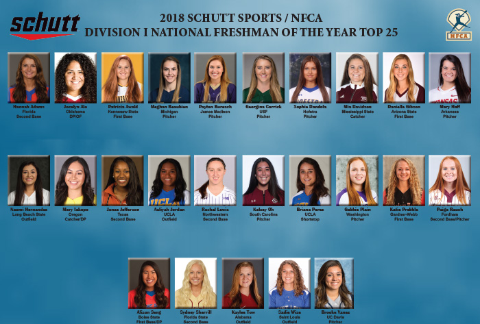 Twenty-five candidates in running for Schutt Sports / NFCA Division I National Freshman of the Year