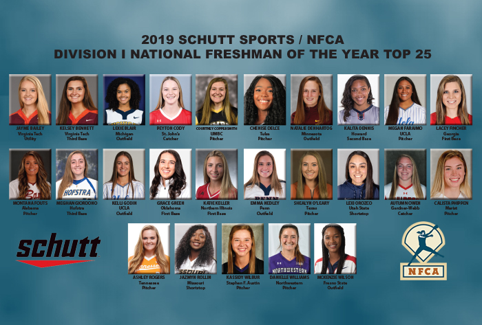 Twenty-five candidates in running for 2019 Schutt Sports / NFCA Division I National Freshman of the Year