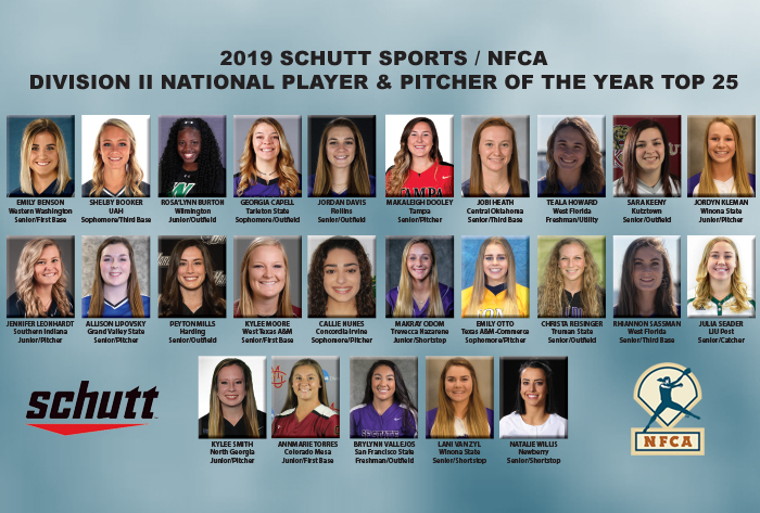 2019 Schutt Sports/NFCA Division II National Player & Pitcher of the Year Top 25 announced