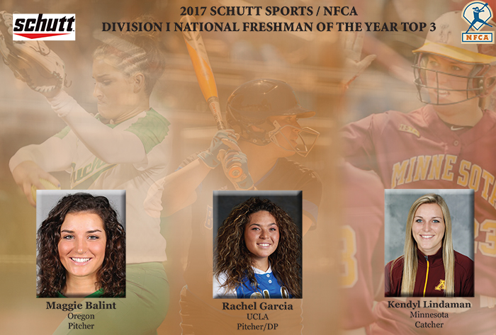 Balint, Garcia, Lindaman  revealed as Schutt Sports/NFCA Division I National Freshman of the Year top-3 finalists