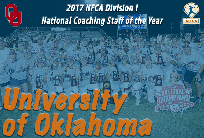 Oklahoma captures NFCA's 2017 NCAA Division I National Coaching Staff of the Year award