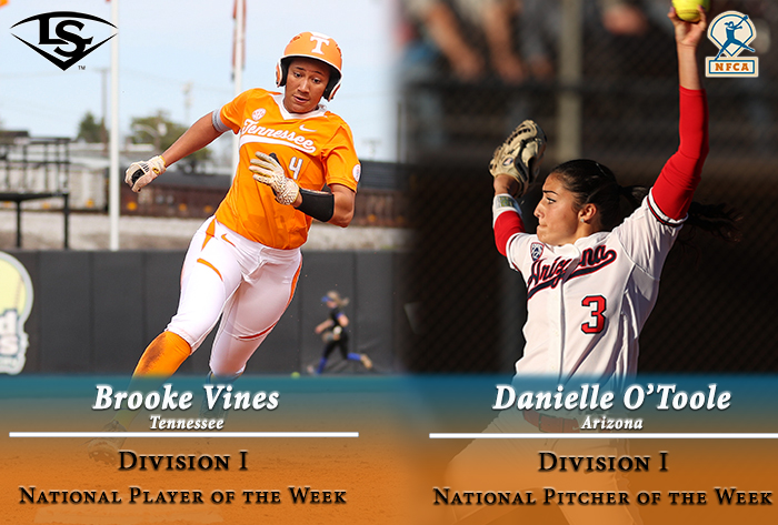 Tennessee's Vines, Arizona's O'Toole garner Louisville Slugger/NFCA Division I weekly honors