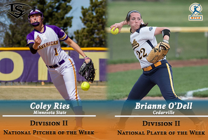 Minnesota State Ries, Cedarville's O'Dell garner 2017 Louisville Slugger/NFCA Division II weekly national honors
