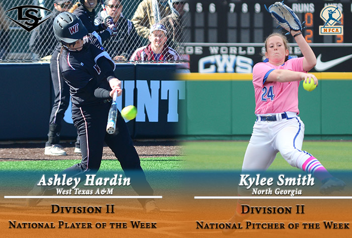 West Texas A&M's Hardin, North Georgia's Smith garner 2017 Louisville Slugger/NFCA Division II weekly national awards
