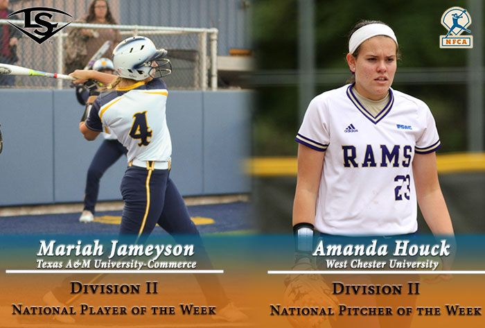 Texas A&M Commerce's Jameyson, West Chester's Houck garner 2017 Louisville Slugger/NFCA Division II weekly national awards