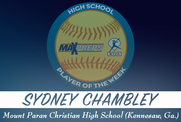 Mount Paran Christian's Chambley named 2018-19 MaxPreps/NFCA National High School Player of Week