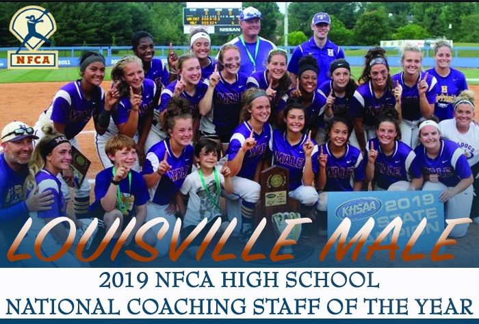 NFCA, national coaching staff of the year, Louisville Male High School, Bulldogs, softball, Josh Bloomer, Annie Gordon, Erika Downy, Ron Pence