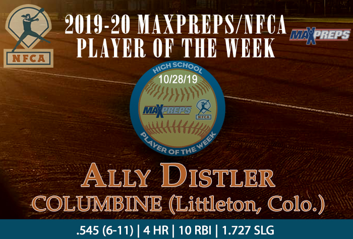 Maxpreps/NFCA High School Player of the Week, Ally Distler, Columbine High School , Littleton, Colorado, MaxPreps, NFCA