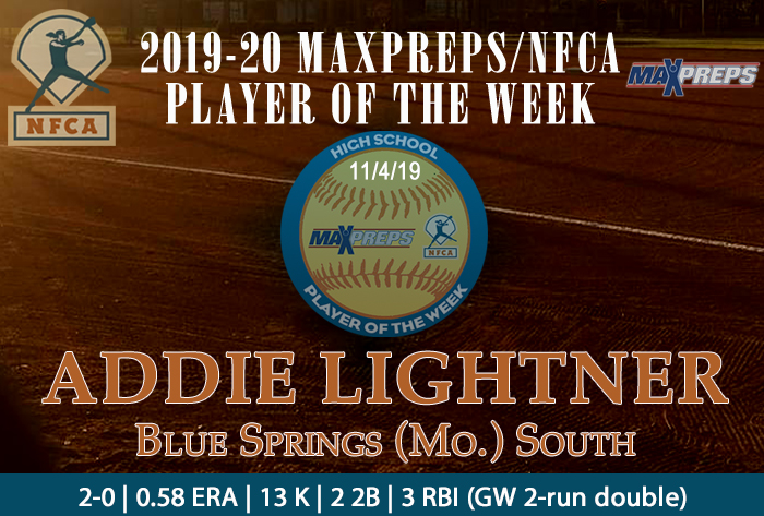 Blue Springs South's Lightner named 2019-20 MaxPreps/NFCA National High School Player of Week