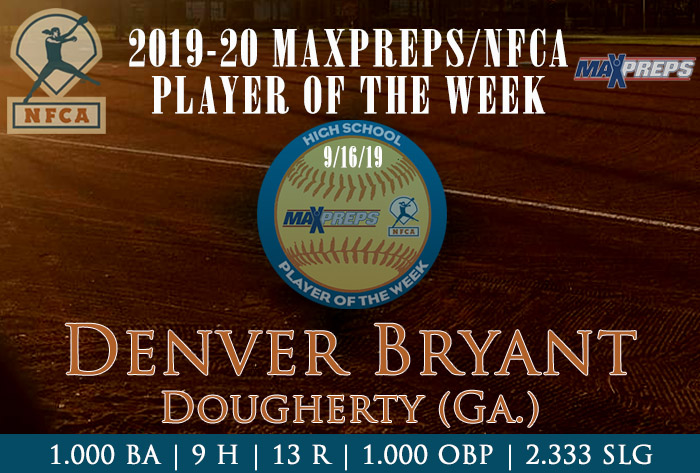 Dougherty's Bryant named 2019-20 Fall MaxPreps/NFCA National High School Player of Week