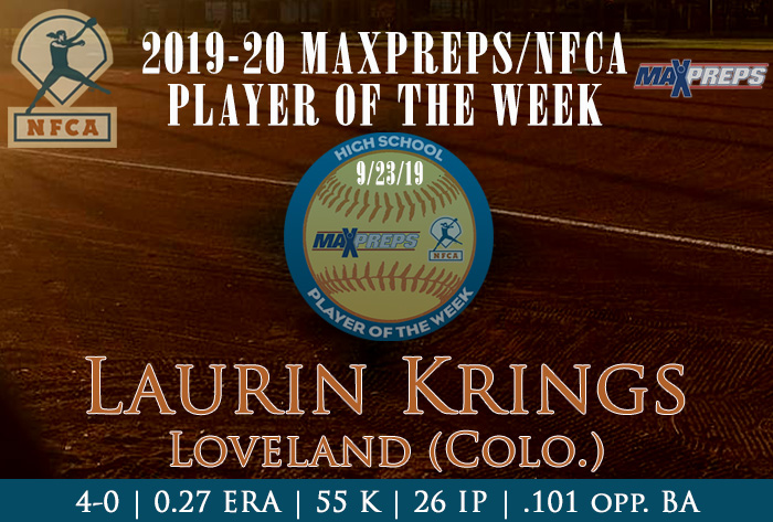 Loveland's Krings named 2019-20 Fall MaxPreps/NFCA National High School Player of Week