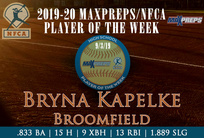 MaxPreps, NFCA, high school player of the week, Bryna Kapelke, Broomfield High School, Colorado