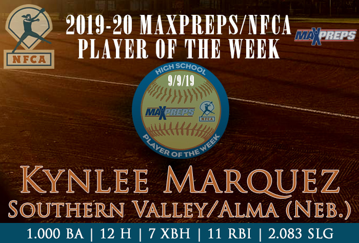 maxpreps, nfca, player of the week, high school, kynlee marquez, southern valley alma high school, oxford, nebraska, softball