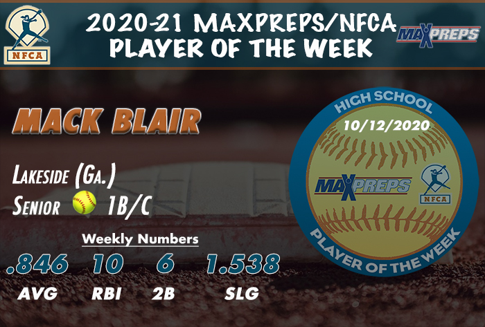 maxpreps/nfca high school player of the week, Mack Blair lakeside softball, Mack Blair, lakeside high school ga, maxpreps, nfca, high school player of the week