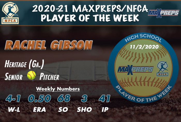 maxprep, nfca, nfca high school player of the week, MaxPreps/nfca high school player of the week, Rachel Gibson, heritage high school