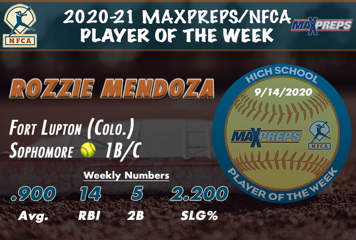 nfca, maxpreps, max preps, nfca/maxpreps, maxpreps/nfca, MaxPreps/NFCA High School Player of the Week, nfca hs player of the week, rozzie Mendoza, fort lupton high school, fort lupton softball