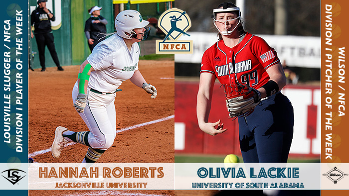 nfca player of the week, nfca pitcher of the week, Hannah Roberts, Olivia Lackie, Louisville Slugger/NFCA Di Player of the Week, Wilson/NFCA Di Pitcher of the Week