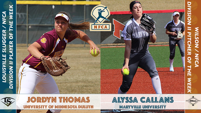 nfca player of the week, nfca, nfca pitcher of the week, Wilson/nfca dii pitcher of the week, Louisville slugger/nfca dii player of the week, Alyssa Callans, Jordyn Thomas, d2 softball, dii softball