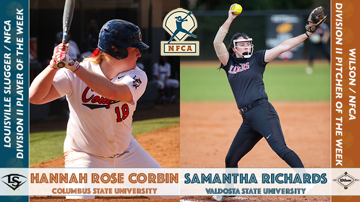 nfca player of the week, nfca pitcher of the week, nfca, Louisville Slugger/NFCA Player of the Week, Wilson/NFCA Pitcher of the Week, Hannah Rose Corbin, Columbus State University, Samantha Richards, Valdosta State University