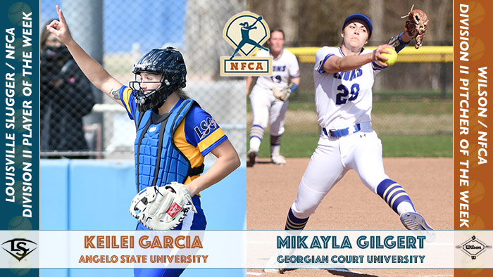Keilei Garcia Angelo State, NFCA player of the week, Louisville Slugger/NFCA DII Player of the Week, nfca, dii player of the week, Louisville slugger, keilei garcia, nfca, wilson sporting goods, wilson pitcher of the week, Mikayla Gilbert, Georgian Court, wilson/nfca dii pitcher of the week, nfca pitcher of the week