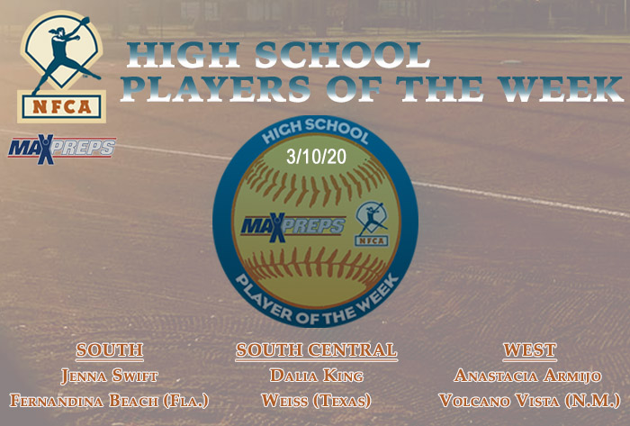 nfca, MaxPreps, MaxPreps/nfca high school player of the week, nfca high school player of the week, maxpreps player of the Week, Fernandina Beach High School, Jenna Swift, Anastacia Armijo, Volcano Vista High School, Dalia King, Weiss High School