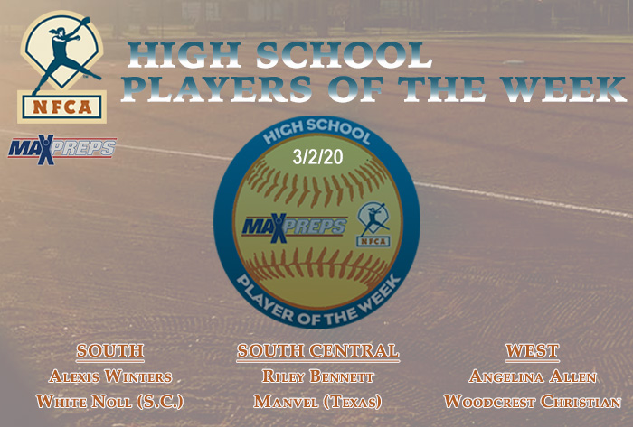 nfca, MaxPreps, MaxPreps/nfca high school player of the week, nfca high school player of the week, maxpreps player of the Week, Alexis Winters, Riley Bennett, Angelina Allen