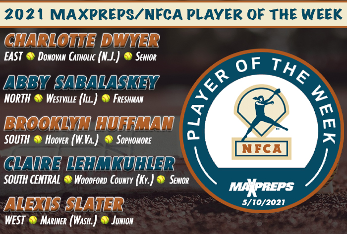 Dwyer, Sabalaskey, Huffman, Lehmkuhler, Slater tabbed 2021 MaxPreps/NFCA High School Players of Week