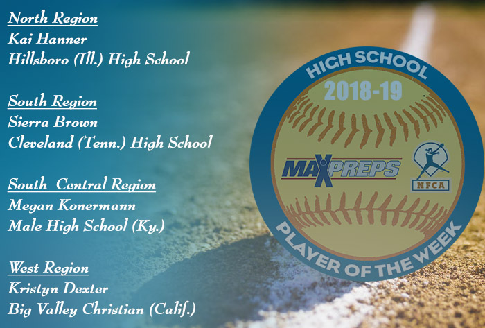 Hanner, Brown, Konermann, Dexter named 2018-19 MaxPreps / NFCA National High School Players of Week