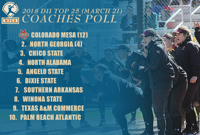 Texas A&M University-Commerce, Palm Beach Atlantic enter top 10 in NFCA DII Top 25 Coaches Poll