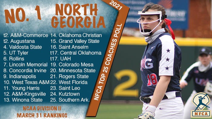 nfca dii top 25 coaches poll, nfca, nfca poll, dii poll, ncaa dii poll, North Georgia, ung nighthawks