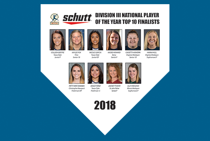 2018 Schutt Sports/NFCA Division III National Player of the Year Top 10 announced