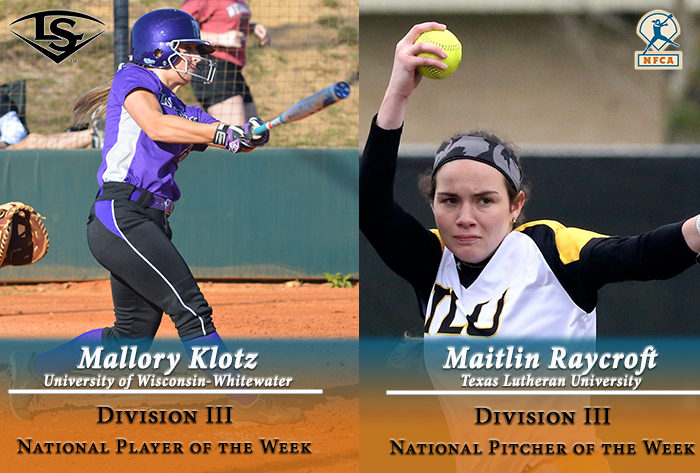 Raycroft, Klotz earn Louisville Slugger/NFCA Division III National Pitcher, Player of Week honors