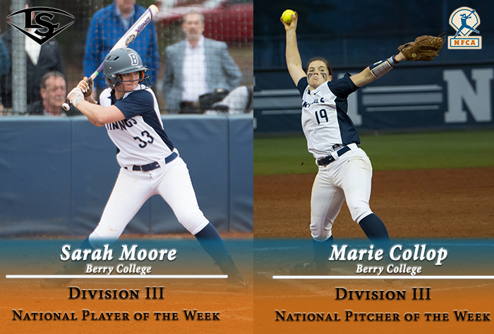 Berry sweeps Louisville Slugger/NFCA Division III National Pitcher, Player of Week honors