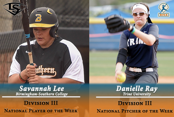 Ray, Lee earn Louisville Slugger/NFCA Division III National Pitcher, Player of Week honors