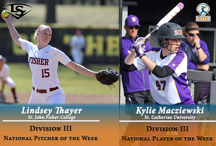 Thayer, Macziewski earn Louisville Slugger/NFCA Division III National Pitcher, Player of Week honors