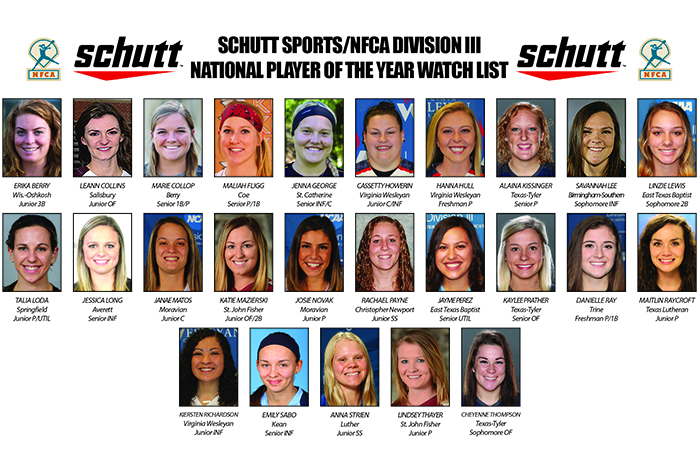 Twenty-five finalists for Schutt Sports/NFCA Division III Player of Year