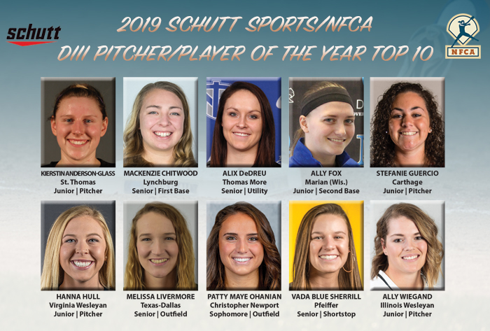 2019 Schutt Sports/NFCA Division III National Pitcher and Player of the Year Top 10 announced