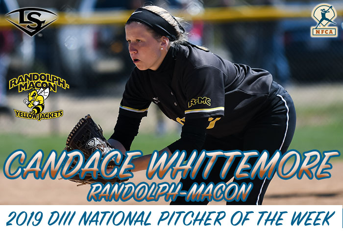Whittemore, Hasty claim Louisville Slugger/NFCA Division III National Pitcher, Player of Week honors