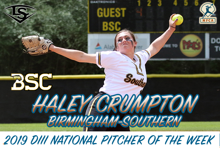 Crumpton, Attaway claim Louisville Slugger/NFCA Division III National Pitcher, Player of Week honors
