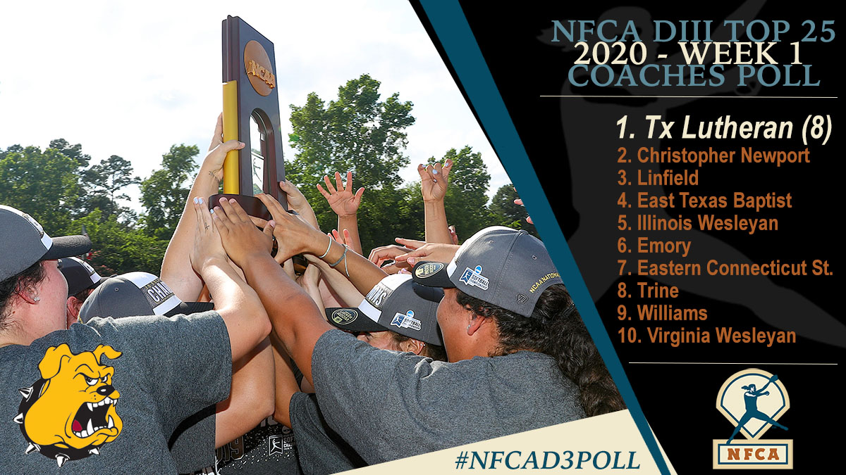 NFCA, Division III, D3, NCAA, poll, top 25, coaches, softball, fastpitch