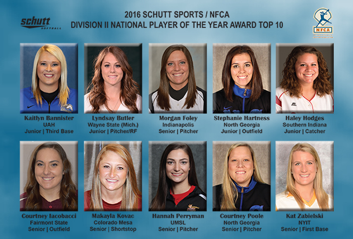 Ten finalists revealed for 2016 Schutt Sports/NFCA Division II National Player of the Year