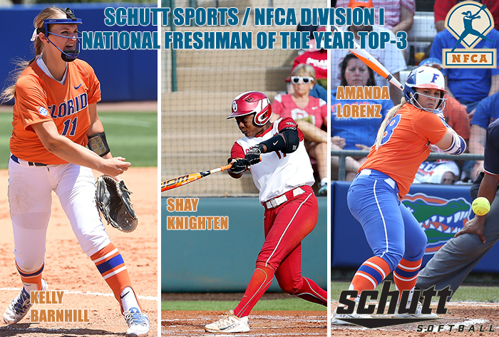 Barnhill, Knighten, Lorenz finalists for Schutt Sports / NFCA Division I National Freshman of the Year