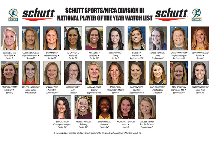 Twenty-five players in mix for inaugural Schutt Sports/NFCA Division III Player of Year