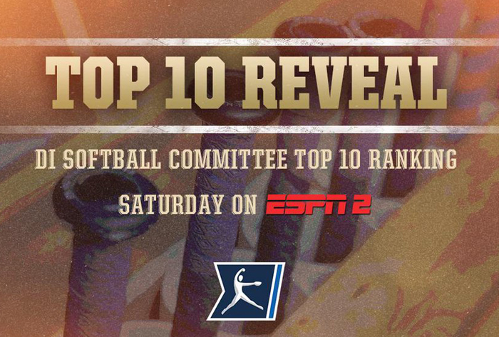 NCAA Division I Softball Committee to reveal top ten ranking on Saturday