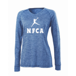 NFCA Holloway Blue Long Sleeve V-Neck Shirt (Dry-Excel)